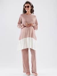 Pink - Crew neck - Unlined - Maternity Dress