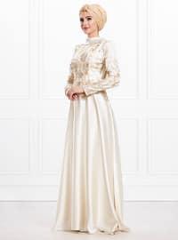 Ecru - Fully Lined - Viscose - Muslim Evening Dress