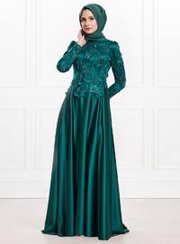Emerald - Fully Lined - Viscose - Muslim Evening Dress
