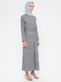 Navy Blue - Stripe - Crew neck - Unlined - Cotton - Dress