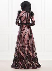 Powder - Multi - Fully Lined - Crew neck - Viscose - Muslim Evening Dress