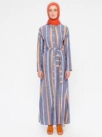 Blue - Mustard - Stripe - Point Collar - Unlined - Viscose - Dress