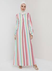 White - Pink - Stripe - Crew neck - Unlined - Viscose - Dress