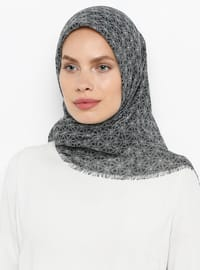 Gray - Printed - Plain - Cotton - Scarf