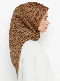 Brown - Printed - Plain - Cotton - Scarf