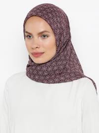 Purple - Printed - Plain - Cotton - Scarf