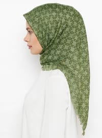 Green - Printed - Plain - Cotton - Scarf