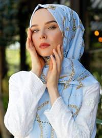 Blue - Multi - Printed - Shawl - Şal Evi