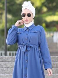 İndigo - Polo yaka - Astarsız kumaş - Akrilik - Elbise