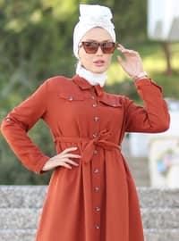Tuğla - Polo yaka - Astarsız kumaş - Akrilik - Elbise