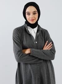 Antrasit - Astarsız kumaş - Çin yakalı - - Palto ve Kabanlar - Everyday Basic