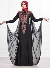 Black - Fully Lined - Crew neck - Viscose - Muslim Evening Dress
