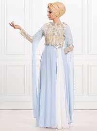 Blue - Fully Lined - Crew neck - Viscose - Muslim Evening Dress