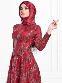 Maroon - Multi - Fully Lined - Crew neck - Viscose - Muslim Evening Dress