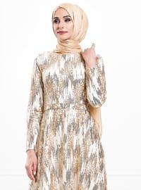 Gold - Multi - Fully Lined - Crew neck - Viscose - Muslim Evening Dress
