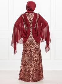 Maroon - Fully Lined - Crew neck - Viscose - Muslim Evening Dress