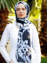 Gray - Leopard - Leopard - Printed - Shawl - Şal Evi