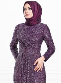 Plum - Fully Lined - Crew neck - Viscose - Muslim Evening Dress