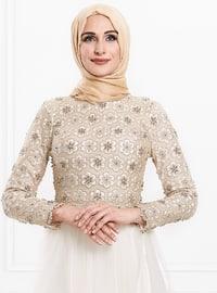 Ecru - Fully Lined - Crew neck - Viscose - Muslim Evening Dress