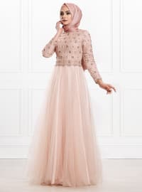 Powder - Fully Lined - Crew neck - Viscose - Muslim Evening Dress