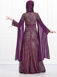 Purple - Fully Lined - Crew neck - Viscose - Muslim Evening Dress