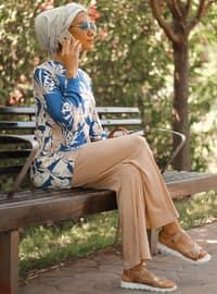 Lacivert - Çiçekli - Astarsız kumaş - Takım