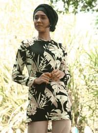 Siyah - Çiçekli - Astarsız kumaş - Takım