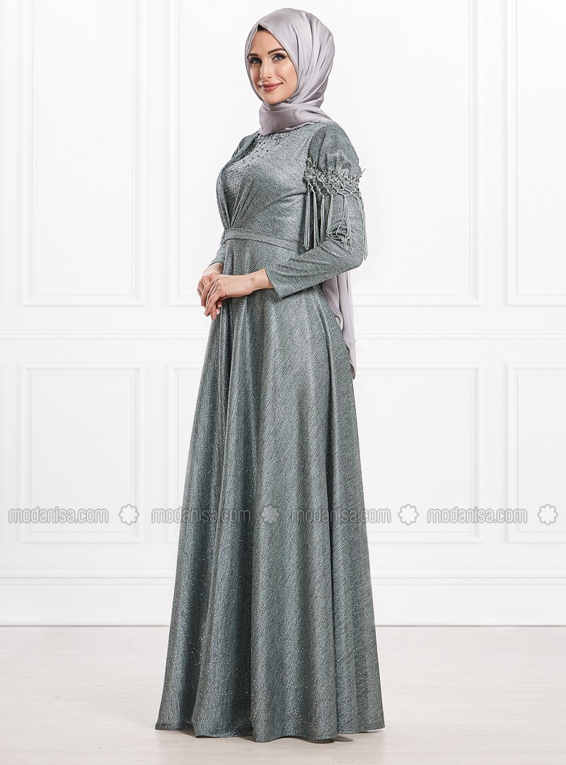 Green - Fully Lined - Crew neck - Viscose - Muslim Evening Dress