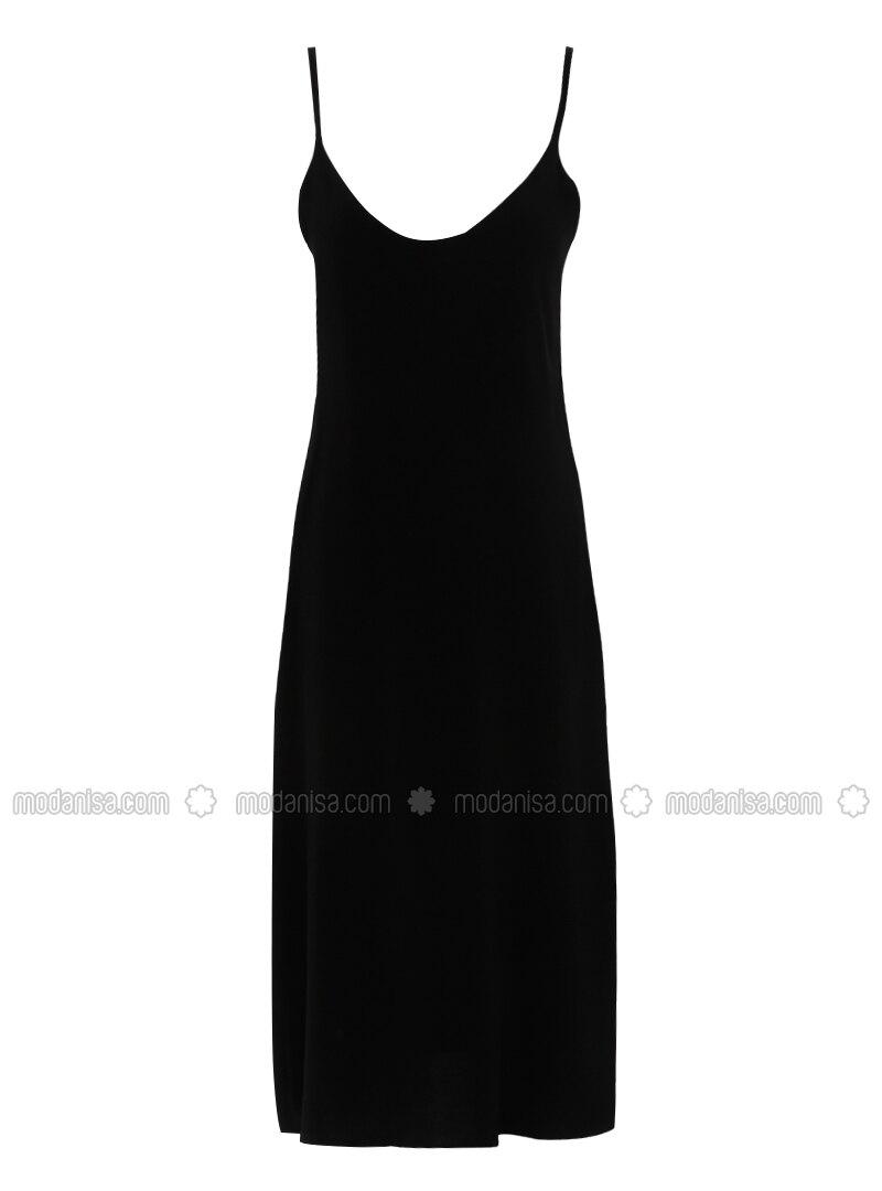schwarz - v-ausschnitt - ohne innenfutter - viskose - hijab kleid
