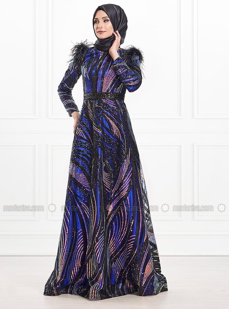 grande remise réputation fiable meilleure vente Bleu marine - Multicolore - Tissu doublé - Col rond - Viscose - Robe de  soirée