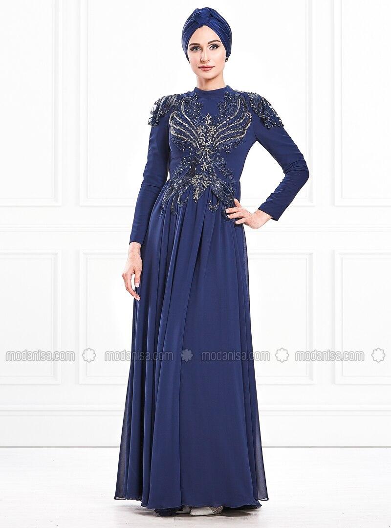 Navy Blue - Fully Lined - Crew neck - Viscose - Muslim Evening Dress
