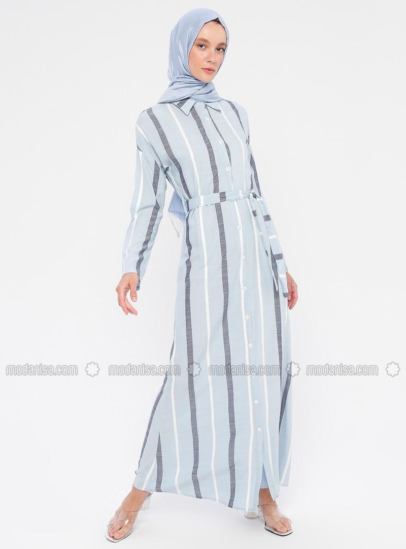 Blue - Stripe - Point Collar - Unlined - Viscose - Dress