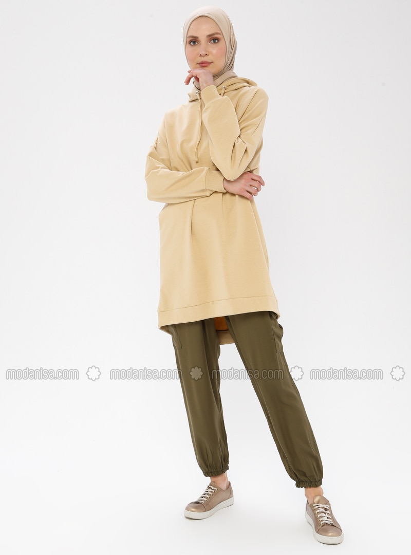 Khaki -  - Viscose - Pants