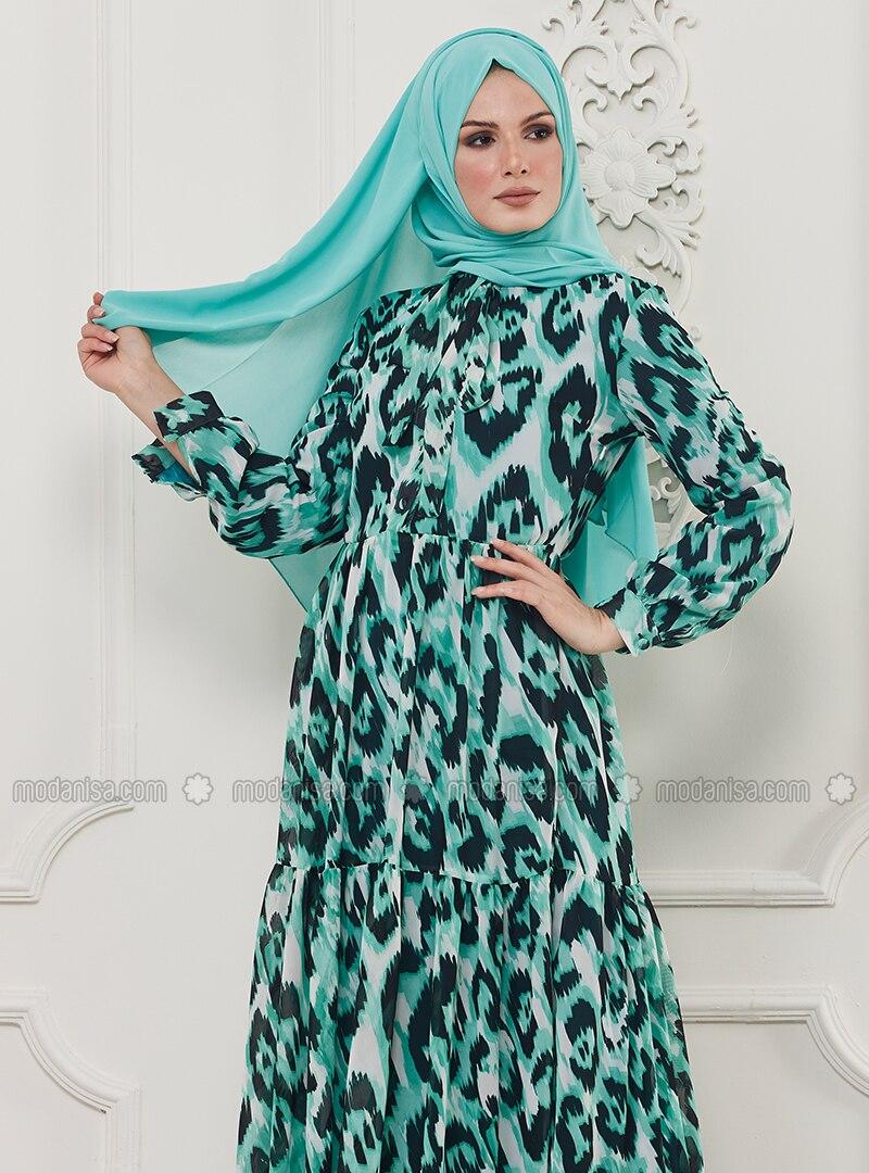 b071b4ce47d7 Green - Leopard - Multi - Crew neck - Unlined - Viscose - Dress. Fotoğrafı  büyütmek için tıklayın