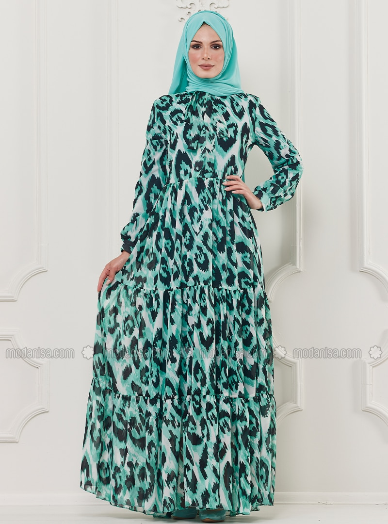 894d99e6b060 Green - Leopard - Multi - Crew neck - Unlined - Viscose - Dress