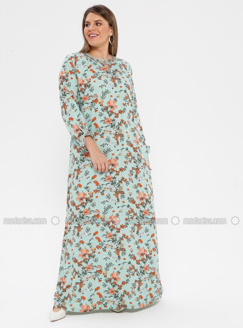 Mint - Multi - Unlined - Crew neck - Viscose - Plus Size Dress - Ginezza