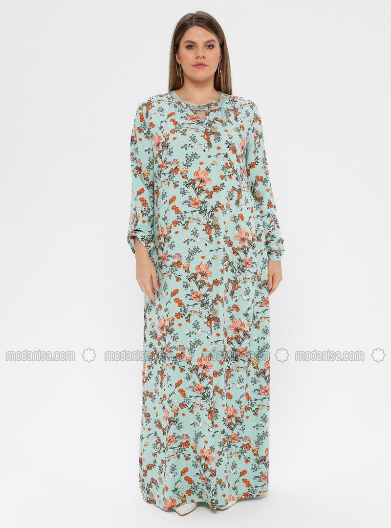 Mint - Multi - Unlined - Crew neck - Viscose - Plus Size Dress - Ginezza