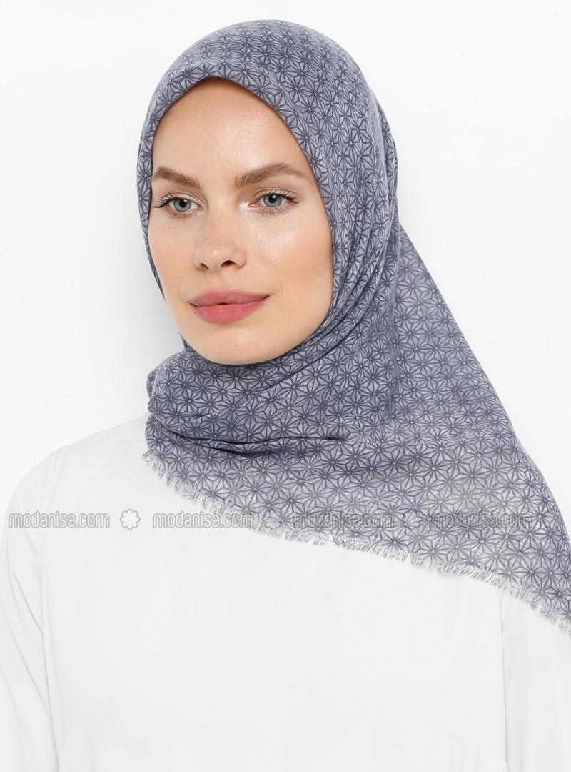 Blue - Printed - Plain - Cotton - Scarf