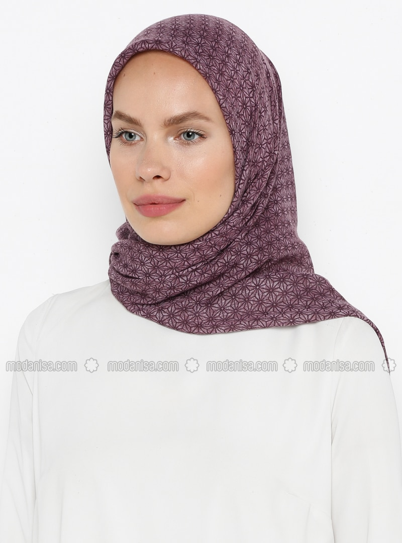 Purple - Printed - Plain - Cotton - Scarf