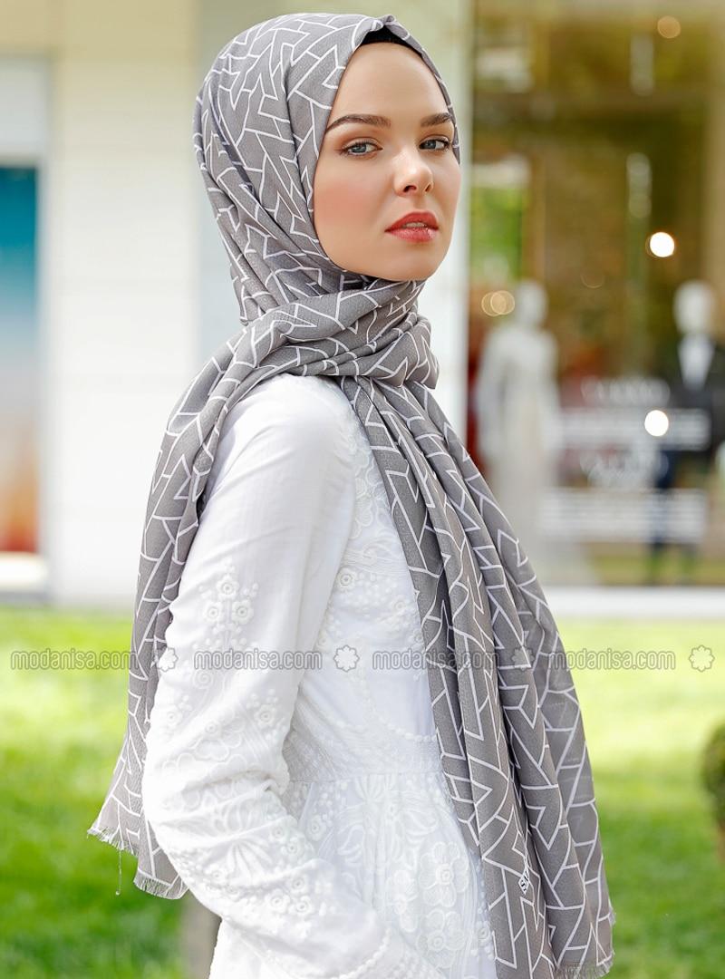 Smoke - Printed - Shawl - Şal Evi