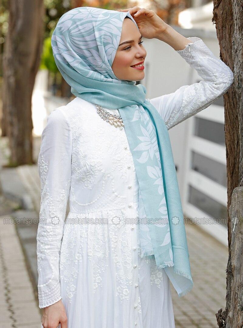Turquoise - Printed - Shawl