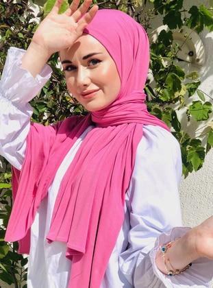 White - Pink - Plain - Cotton - Shawl