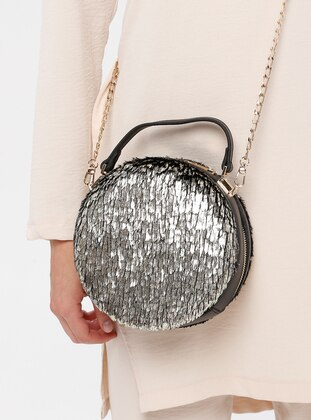 Khaki - Silver tone - Smoke - Shoulder Bags