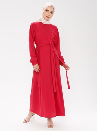 Pink - Fuchsia - Polo neck - Unlined - Dress