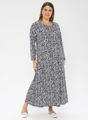 Black - Multi - Unlined - Crew neck -  - Plus Size Dress