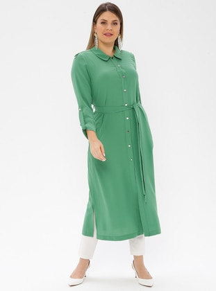 Green - Unlined - Point Collar - Plus Size Coat