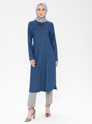 Blue - Navy Blue - Indigo - Point Collar - Cotton - Denim - Tunic