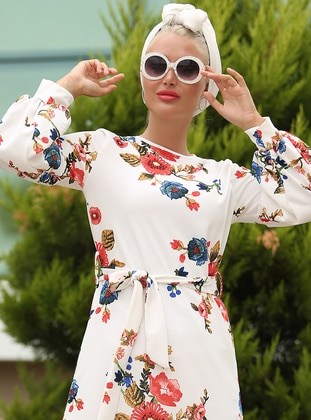 White - Coral - Floral - Crew neck - Unlined - Dress