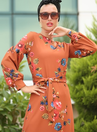 Coral - Terra Cotta - Floral - Crew neck - Unlined - Dress