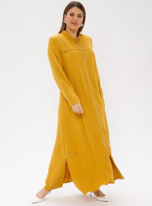 Mustard - Crew neck - Unlined - Viscose - Plus Size Abaya